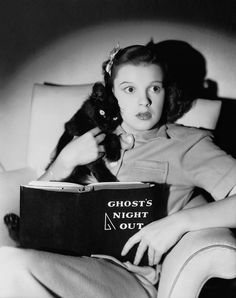 Young Judy Garland & cat