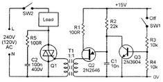 Triac. Isolated-input AC power switch.
