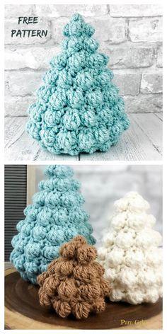 Bobble Christmas Tree Free Crochet Patterns + Video - DIY Magazine - My best diy and crafts list Crochet Bobble, Crochet Tree, Christmas Tree Pattern, Christmas Crochet Patterns, Crochet Christmas Ornaments, Bobble Stitch, Holiday Crochet, Crochet Crafts, Crochet Tutorials