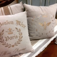 Fun pillows stenciled with Annie Sloan colors, and highlighted with Gold gilding wax.