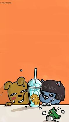 카카오프렌즈 Lines Wallpaper, Cartoon Wallpaper, Pattern Wallpaper, Iphone Wallpaper, Wal Paper, Cute Lockscreens, Social Media Art, Kakao Friends, Tumblr Backgrounds