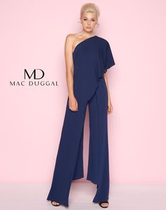 f0272cabc49 Mac Duggal Navy Blue One Shoulder Pant Outfit Pageant Interview Attire  Ypsilon Dresses Pageant Prom Special Occasion Red Carpet Black Tie Event  School Dance ...
