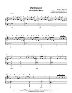 Photograph by Ed Sheeran Piano Sheet Music | Intermediate Level