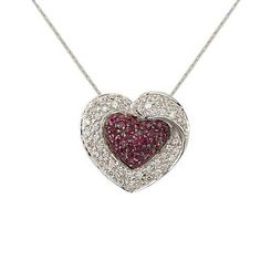 Ladies Diamond & Ruby Heart Necklace in 14K White Gold( TCW   1.35)
