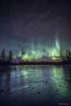 "travelgurus: "" Aurora Borealis over a frozen Alaskan Lake by Phil Gilcrease Follow @travelgurus for the best Tumblr Images """