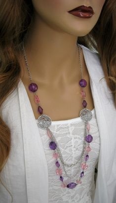 Long Purple Beaded Necklace, Pink Beaded Necklace, Long Multi Strand Beaded…