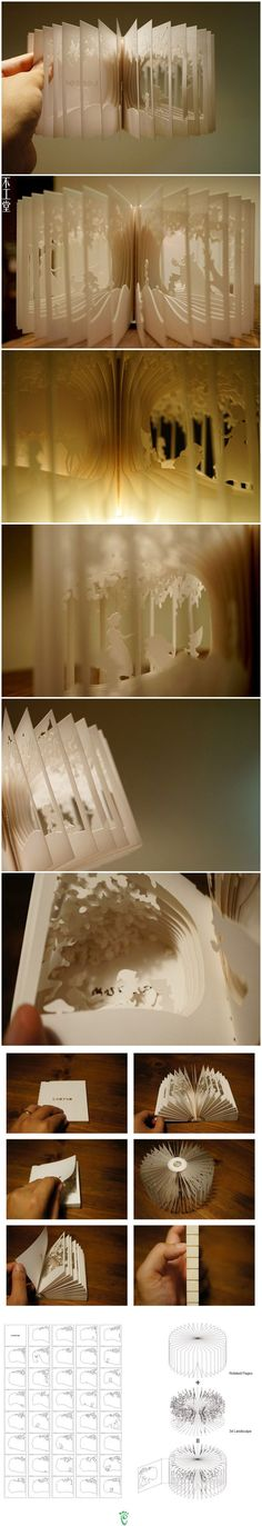 Paper book art. This is seriously jaw-dropping                                                                                                                                                     More