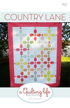PDF pattern file to make the Country Lane Quilt. This quilt measures approximately 54 x 67 and is a perfect lap-sized quilt. The blocks are easy to