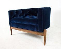 Tufted Art Deco Chair in Como Indigo