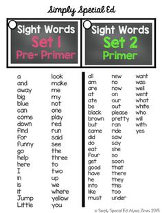 Common Sight Words Flip Cards by Simply Special Ed | Teachers Pay Teachers