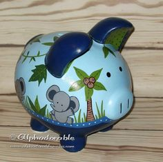 Elefante azul marino monkey Custom mano artesanal pintado