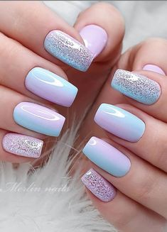 Beautiful Glittering Short Pink Nails Art Designs Idea For Summer And Spring - Lily Fashion Style Manicure Colors, Gel Manicure, Nail Polish Colors, Gradient Nails, Glitter Nails, Short Nail Designs, Nail Art Designs, Short Pink Nails, Pink Nail Art