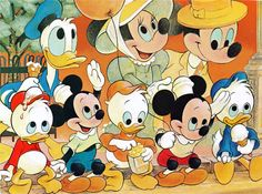Disneyland Everyone Loves A Parade! The gang's all here - Mickey, Minnie, Donald and their nephews too - all enjoying the colorful e. Walt Disney, Disney Mickey, Disney Art, Disney Pics, Disney Pictures, Disney And More, Disney Love, Disney Stuff, Mickey Mouse Cartoon