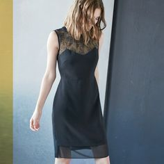 The little black dress isn't going anywhere, update it for this season with romantic details like a high neck and lace.