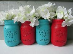 Blue and red mason jars ♡