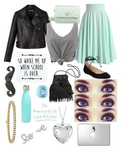 """💎"" by catie456 ❤ liked on Polyvore featuring Chicwish, Chanel, Karl Lagerfeld, WithChic, Disney, Eos, Blue Nile, S'well and Sydney Evan"