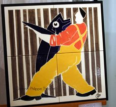 """Voici deux beaux panneaux d'Olivier Lapicque (pièces uniques). Le """"Tango de l'îlien"""" reprend sa technique d'aplats utilisée sur ses grandes ... Tango, Voici, Tigger, Boats, Disney Characters, Fictional Characters, Illustration, Olive Tree, Ships"""