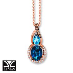 Le Vian LeVian Amethyst Necklace 1/6 ct tw Diamonds 14K Strawberry Gold gTPAn