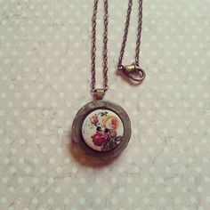 Grey button with red and gold rose floral layered by maxollieandme