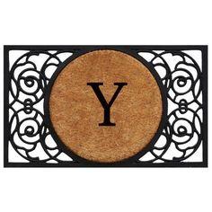 Armada Circle Monogram Doormat (Letter Y), Black