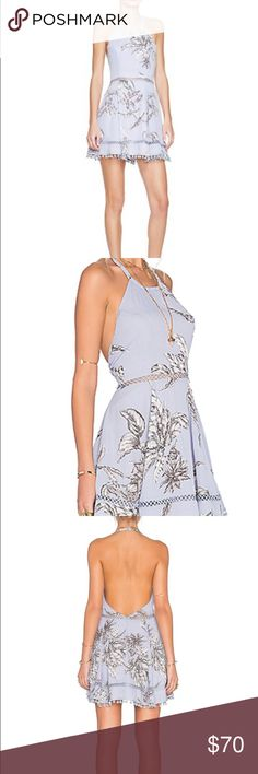 tularosa olivia floral print halter dress Black and white sketch flower print on light blue fit and flare halter Tularosa Dresses Mini