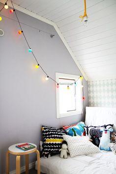 Gray wall, colorful lights