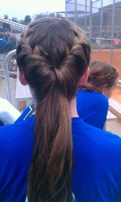French braids into tucked ponytail