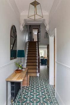 Hallway Decorating 337699672057630483 - Traditional Victorian home in the UK with interior design by Beth Dadson of Imperfect Interiors. Come see more Timeless and Tranquil Blues in a Victorian Home. Source by hadleycourt Tiled Hallway, Hallway Flooring, Grey Hallway, Mirror For Hallway, Modern Hallway, Modern Stairs, Mirrors On Stairs, Hallway Console Table, Black And White Hallway