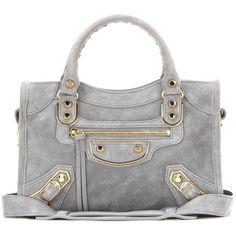 Balenciaga Classic Metallic Edge Mini City Suede Shoulder Bag (5.835 BRL) ❤ liked on Polyvore featuring bags, handbags, shoulder bags, grey, gray handbags, suede purse, grey shoulder bag, suede handbags and mini handbags