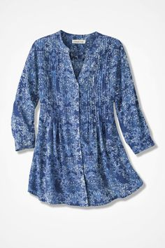 """$80.  Petite is 26"""" long. They have no chest measure.  Indigo Mood Medallion Tunic - Coldwater Creek"""