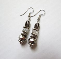 Silver Sparkle Faceted Swarovsky Crystal dangle earrings by GypsyDreamerCafe, $10.50