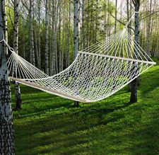 Outdoor Swing Hanging Camping Cotton Bed Patio Hammock Double 2 Person for sale online Outdoor Hammock, Hammock Swing Chair, Hammock Stand, Hammocks, Hampton Bay Patio Furniture, Metal Patio Furniture, Patio Bed, Double Hammock, Lawn And Garden
