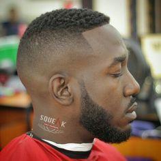 Black Fade Haircut, Black Men Haircuts, Black Men Hairstyles, Hairstyles Haircuts, Haircut Designs For Men, Beard Styles, Hair Styles, Gents Hair Style, Black Men Beards