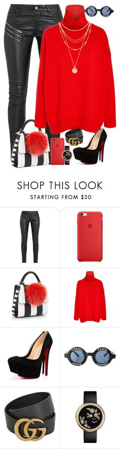 """""""Untitled #1886"""" by i-am-leia ❤ liked on Polyvore featuring Yves Saint Laurent, Les Petits Joueurs, Oscar de la Renta, Christian Louboutin, Chanel, Gucci and Forever 21"""