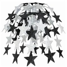Cascade Star Hanging Black and Silver Pk 1   Party Supply   Paper Party Supplies…