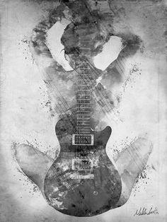Guitar Digital Art - Guitar Siren In Black And White by Nikki Smith