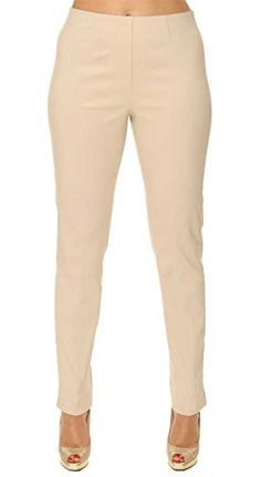Amy Alder Womens Ease into Comfort Ankle Pants in Cornsilk (think light khaki)  just make you look like you're on vacation! Slimming pants  work hard to make you look good whether you wear them for dress or casual. These and more cruise friendly colors at GuyGifter.com!