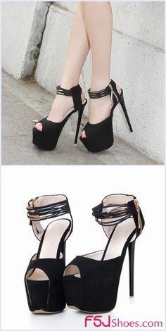 e4a3057ec90 Black Stiletto Heels Peep Toe Ankle Strap Suede Sandals with Platform