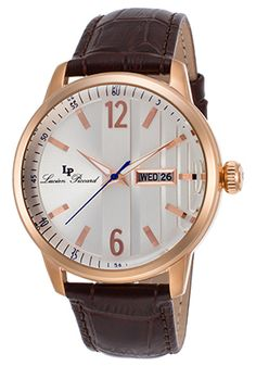 Lucien Piccard Milanese Brown Genuine Leather Silver-Tone Dial Rose-Tone…