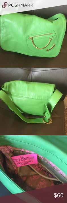 Super cute green leather Juicy Bag Lovely think Spring time with this Gorgeous Juicy 11 x 8.5 x 5  Light wear bottom corners minor Juicy Couture Bags Shoulder Bags