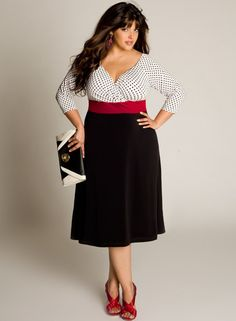 Eva Vintage Dress or join plus size separates with a red belt