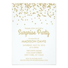 Glitter Birthday Party Invitations Gold Glitter Confetti Surprise Birthday Party Card