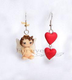 Orecchini cupido San Valentino -fimo, by Forever AB, 7,00 € su misshobby.com