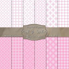 Simply Elegant Designs in Pink & White – Digital Paper Pack 45