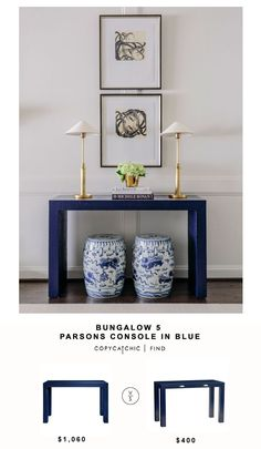 Bungalow 5 Parsons Console in Blue