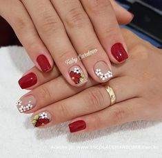 Image may contain: one or more people and closeup Hair And Nails, My Nails, Cherry Nail Art, Fall Nail Art, Pretty Nail Art, Nagel Gel, Nail Art Hacks, Flower Nails, Cute Nail Designs