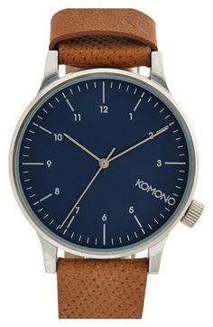 Komono 'Winston' Round Dial Leather Strap Watch, 44mm | Nordstrom