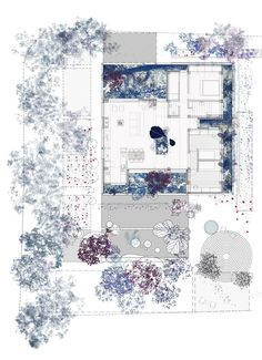 Flora, commission for a private house with four miniature gardens in Nicosia. draftworks*architects, 2015. Plan Más