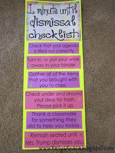 Packing-up checklist - Love the part about thanking a classmate.