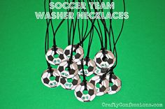 Soccer Washer Necklaces from Crafty Confessions. Can do with any round ball!